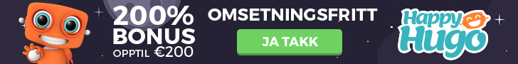 200% Omsetningsfri Bonus Hos Online Casinoet HappyHugo!